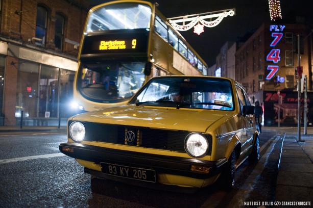 Mo's Bagged Volkswagen Golf Mk1 Diesel on BBS RA, shot in Dublin city centre in late November 2016.